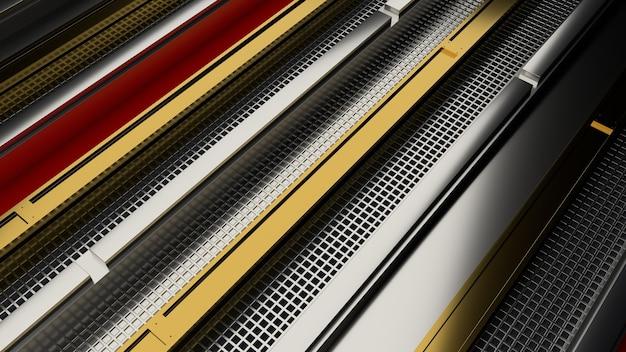 3dレンダリング抽象的な金属の背景。長方形の金属形状。詳細な反射面。