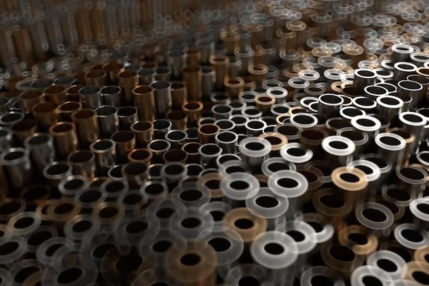 3d визуализация абстрактный металлический фон со случайными вертикальными трубками. случайные трубки толкают вверх и вниз.