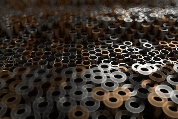 3d визуализация абстрактный металлический фон со случайными вертикальными трубками. случайные трубки толкают вверх и вниз. Premium Фотографии