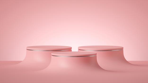 3d визуализация абстрактный минимальный футуристический розовый фон, пустые цилиндрические подиумы или круглая сцена