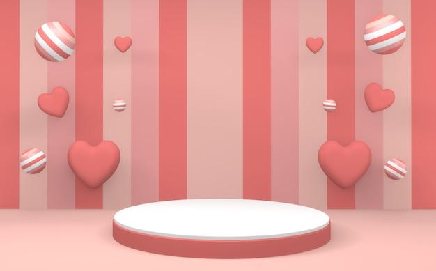 3d 렌더링 추상 최소한의 형상 핑크 파스텔 제품 연단 최소한의 디자인입니다.