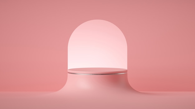 3d render abstract minimal pink background, empty cylinder pedestal with round art deco arch.