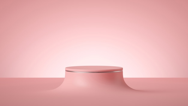 3d render abstract minimal pink background, empty cylinder podium or round stage,