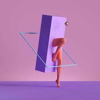 3d визуализация, абстрактная минимальная сюрреалистическая концепция. геометрические формы, человеческие ноги манекена, изолированные на розовом фоне. Premium Фотографии