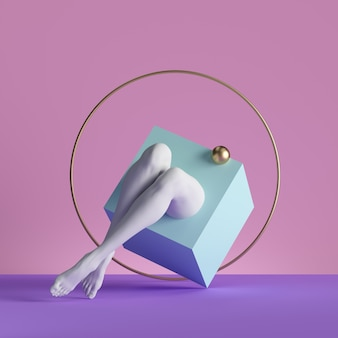 3d render, abstract minimal surreal contemporary art. geometric concept, blue box, golden ball, white legs over pink background.