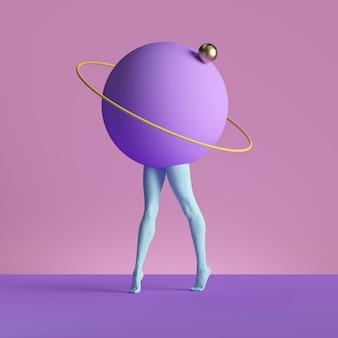 3d визуализация, абстрактное минимальное сюрреалистическое современное искусство. геометрическая концепция, синие ноги, фиолетовый шар на розовом фоне.