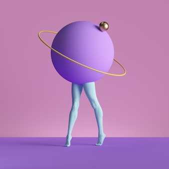 3d render, abstract minimal surreal contemporary art. geometric concept, blue legs, violet ball isolated on pink background.