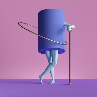 3d render, abstract minimal surreal contemporary art. geometric concept, violet cylinder, blue legs isolated on pink background.