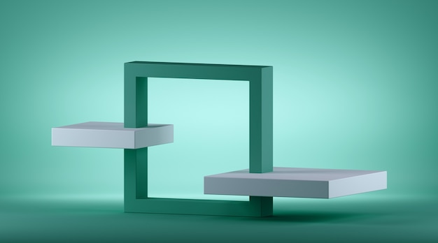 3d render of abstract mint green geometric background with square isometric frame.