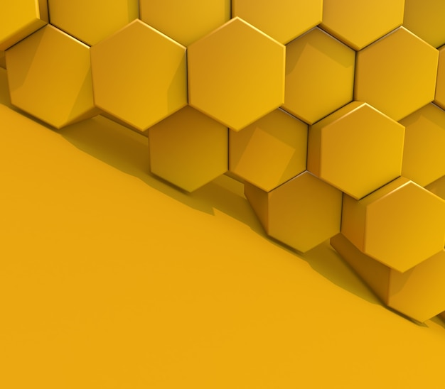 3d render of an abstract modern background with extruding hexagons
