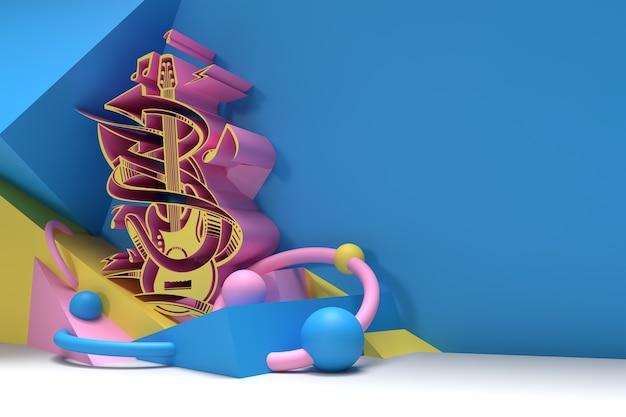 3dレンダリング抽象音楽ギターバナーチラシポスター3dイラストデザイン。