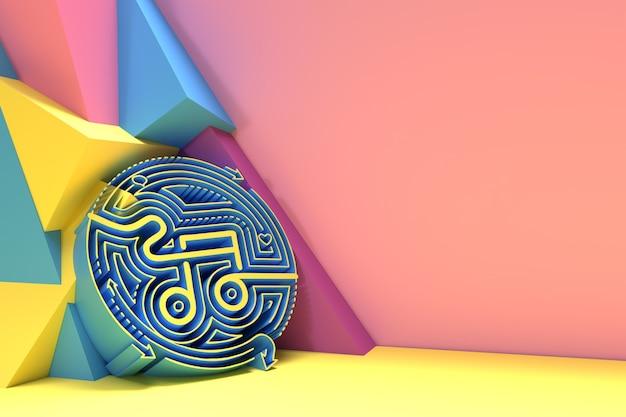 3dレンダリング抽象的な音楽ノートバナーチラシポスター3dイラストデザイン。