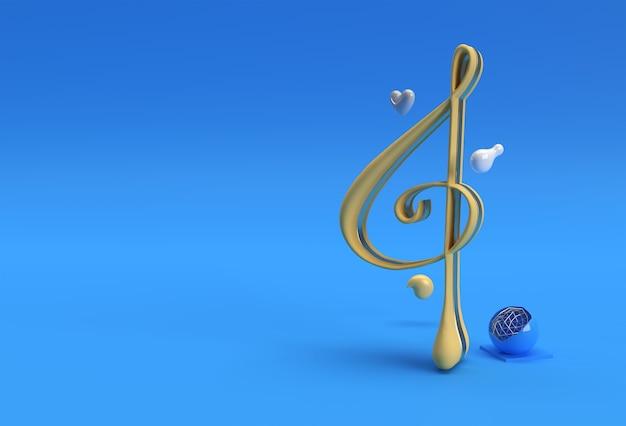 3d визуализация абстрактные музыкальные ноты баннер флаер плакат 3d иллюстрации дизайн.