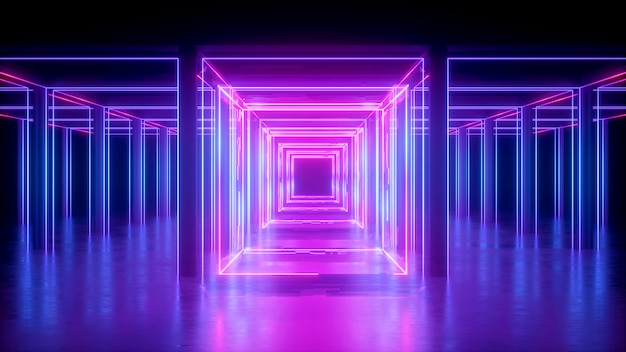 3d render, abstract neon background, pink glowing lines, square shape, corridor, ultraviolet light, virtual reality space