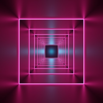 3d render, abstract neon geometric background.