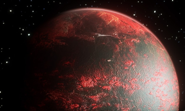 3d render of abstract old planet in process of explosion on black background