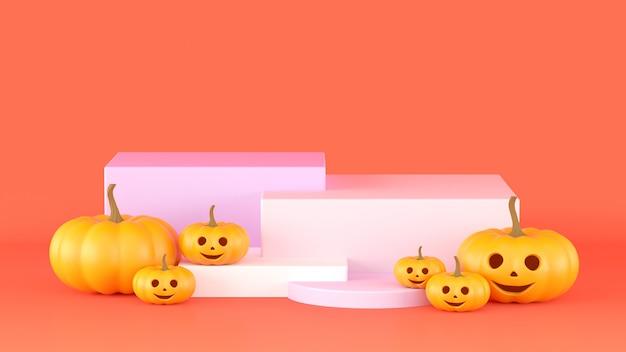 3d 렌더링, 제품에 대 한 기하학적 도형 연단 추상 오렌지 배경.