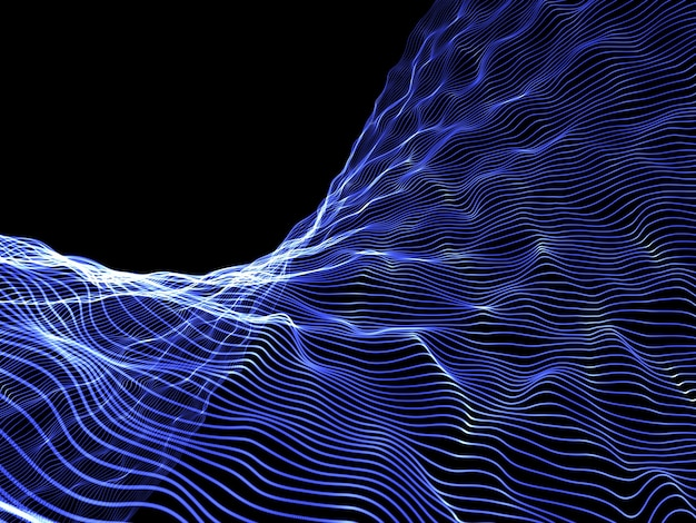 3d render of an abstract particle flow background design, network communications
