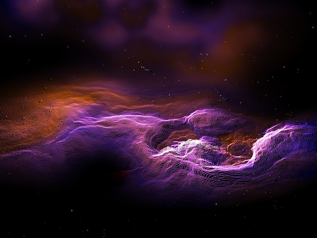 3d render of an abstract particle landscape with galaxy effect