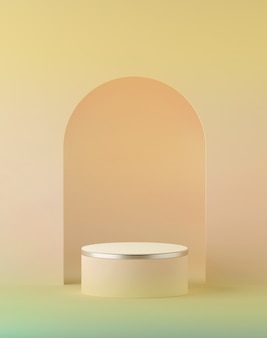 3d render of abstract peachy yellow pastel easter background with blank cylinder podium