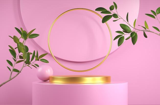 분지 식물을 가진 발표 제품을위한 3d 렌더링 추상 분홍색과 황금 단계