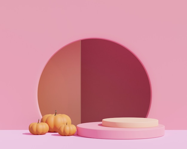 3d render, abstract pink background with geometric shape podium for product. minimal concept. halloween pumpkins on pink background