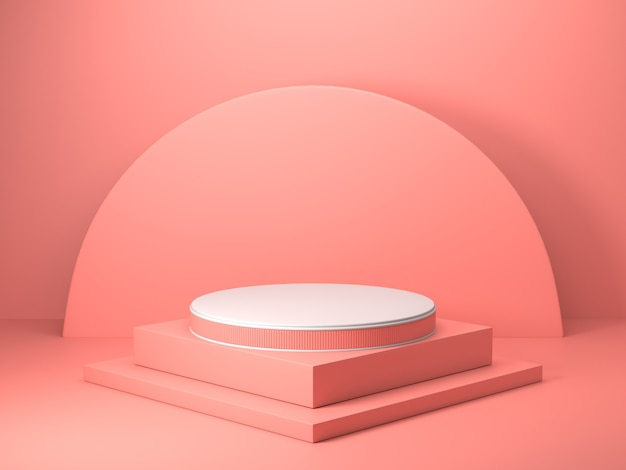 3d render of abstract pink color geometric shape , modern minimalist mockup for podium display or showcase