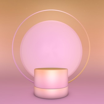3d render of abstract pink gradient composition with round arch. minimal studio pedestal can be used for advertising