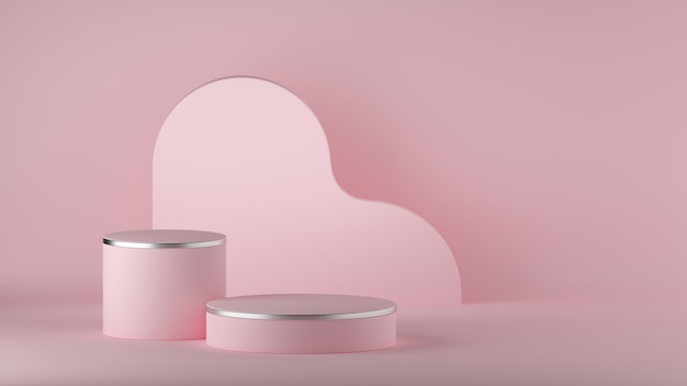3d render of abstract pink minimal background. empty cylinder podium.