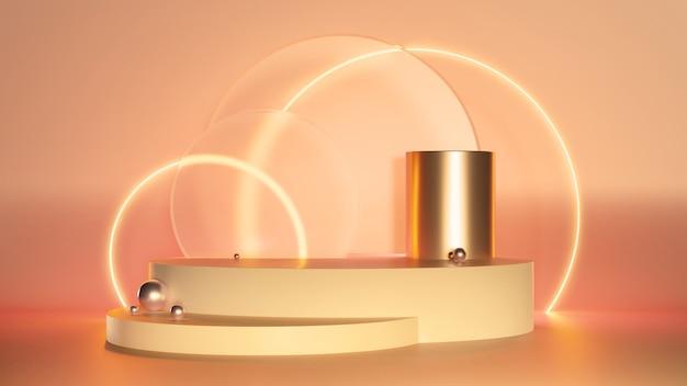 3d 렌더링 네온 빛나는 투명 유리 반지와 추상 플랫폼. 제품 디자인 쇼에 대 한 빈 공간을 가진 기하학적 인 도형 구성. 최소 배너 모형 깊이와 사실주의 배경