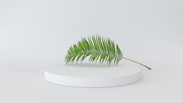 3d render of abstract platform with palm leave. geometric figures in modern minimal design.