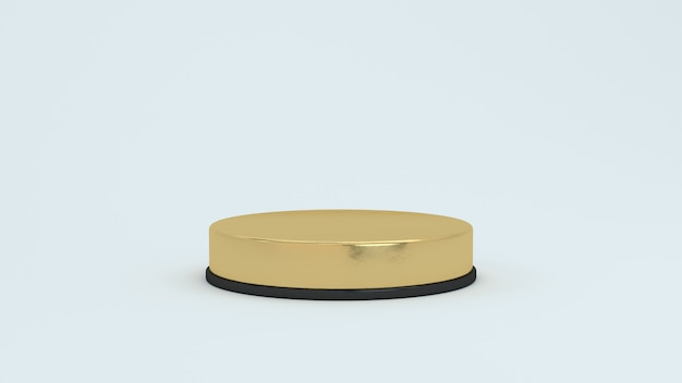 3d render abstract platforms with golden part. realistic podium