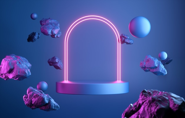 3d render abstract podium neon glowing illumination