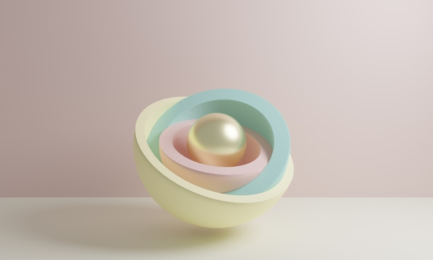 3d render, abstract primitive geometric shapes, pastel color palette, simple layout, minimal design elements advertising