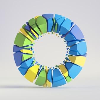 3d 렌더링, 추상 무작위 모자이크 조각, 깨진 원환 체, 구멍, 화려한 도넛 형 둥근 표면에 금이.