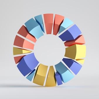 3d 렌더링, 추상 임의의 모자이크 조각, 다채로운 도넛, 깨진 원환 체, 구멍이 둥근 표면에 금이.