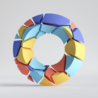 3d 렌더링, 추상 임의의 모자이크 조각, 다채로운 도넛, 깨진 원환 체, 금이 표면.