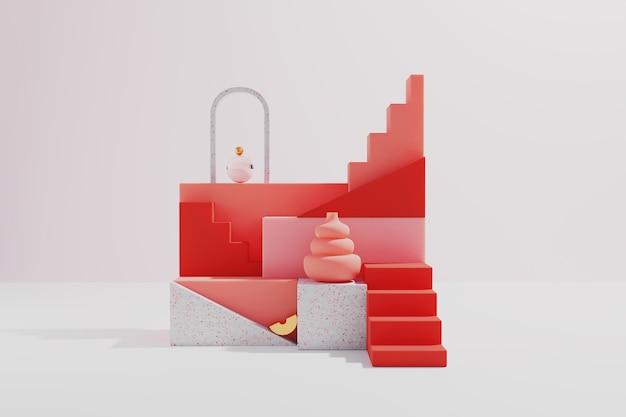 白い背景で隔離の3dレンダリング抽象的な赤い幾何学的な表彰台の表示