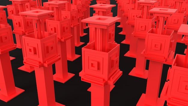 3d визуализация абстрактных красных геометрических структур