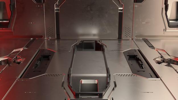 3d визуализация абстрактных светоотражающих научно-фантастических панелей. технология подробный фон.