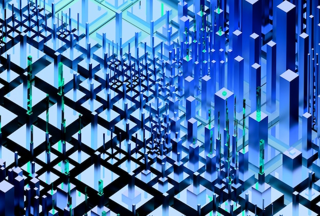 3d render of abstract scatter landscape background with surreal cyber city based on cubes and bars in blue color