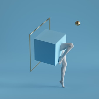 3d render, abstract surreal contemporary art. primitive geometric shapes golden square frame, cube, white legs isolated on blue background.