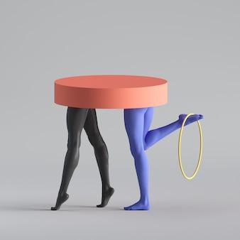 3d визуализация, абстрактная сюрреалистическая концепция моды, забавная скульптура современного искусства.