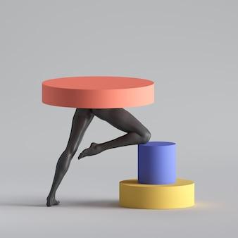 3d визуализация, абстрактная сюрреалистическая концепция моды, минималистичный дизайн, забавное современное искусство.