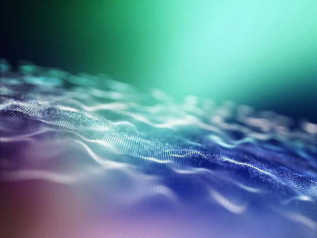 Rendering 3d di uno sfondo techno astratto con particelle arcobaleno fluenti