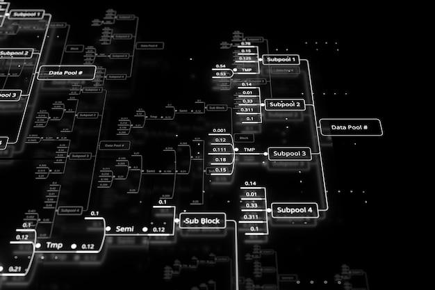 3dレンダリングの抽象的な技術の背景。ビッグデータの概念図。小数は分析グラフで接続されます。