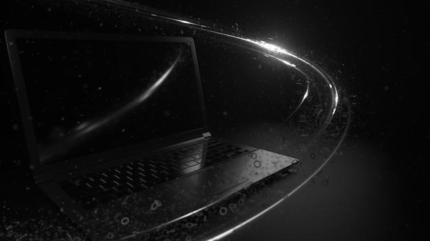 3dレンダリングは、光と2進数の粒子を使用して抽象的なテクノロジーの背景をレンダリングします。