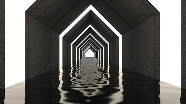 3d render of abstract triangle shape in tunnel background