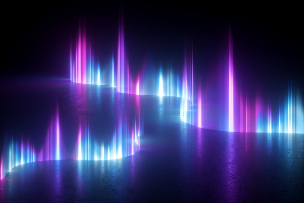 3d render of abstract wallpaper with blue pink violet neon light.