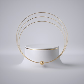 3d render, abstract white background, modern minimal concept, clean style. golden jewelry: rings, choker, collar. empty cylinder podium, vacant pedestal, showcase, product display, futuristic platform